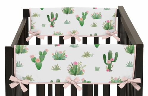 Pink and Green Cactus Floral Side Crib Rail Guards Baby Teething Cover Protector Wrap Boho Watercolor for Collection by Sweet Jojo Designs - Set of 2 - Click to enlarge