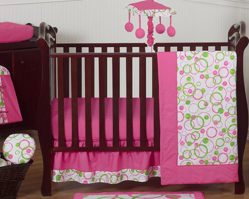 Pink and Green Circles Modern Baby Bedding - 11pc Crib Set - Click to enlarge