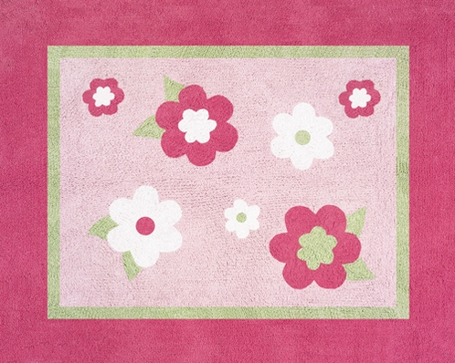 Pink and Green Flower Accent Floor Rug - Click to enlarge