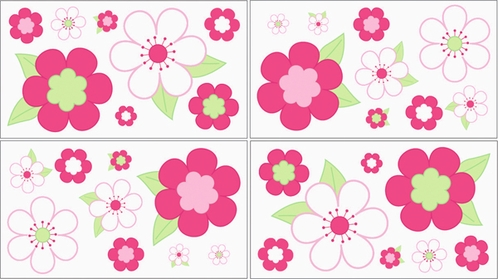 Pink and Green Flower Baby and Childrens Wall Decal Stickers - Set of 4 Sheets - Click to enlarge