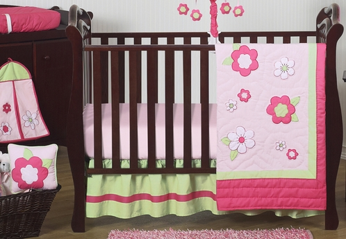 Pink and Green Flower Baby Bedding - 11pc Crib Set - Click to enlarge