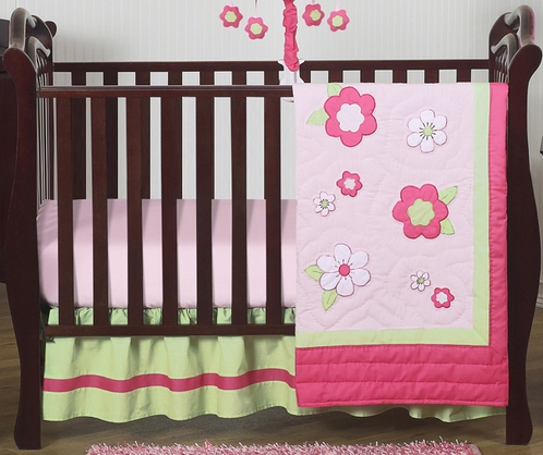 Pink and Green Flower Baby Bedding - 4pc Crib Set - Click to enlarge