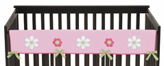 Pink and Green Flower Baby Crib Long Rail Guard Cover by Sweet Jojo Designs