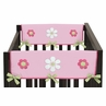 Pink and Green Flower Baby Crib Side Rail Guard Covers by Sweet Jojo Designs - Set of 2