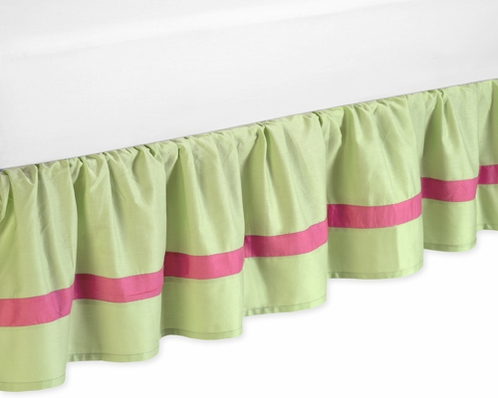 Pink and Green Flower Bed Skirt for Toddler Bedding Sets by Sweet Jojo Designs - Click to enlarge