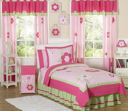 Pink and Green Flower Children's Bedding- 3pc Full / Queen Set - Click to enlarge