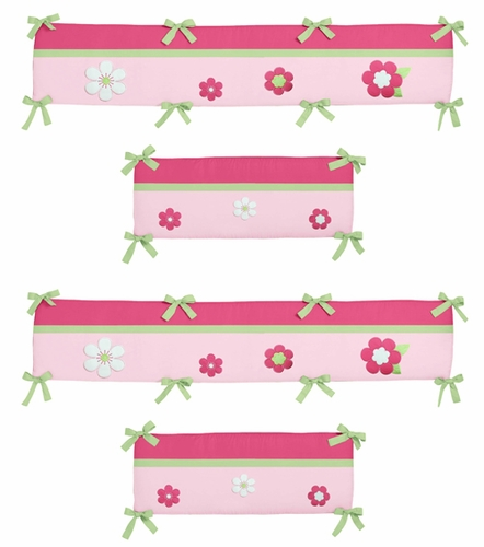 Pink and Green Flower Collection Crib Bumper by Sweet Jojo Designs - Click to enlarge