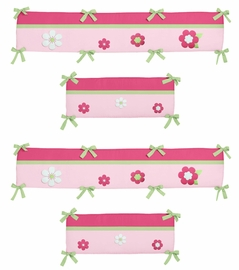 Pink and Green Flower Collection Crib Bumper by Sweet Jojo Designs