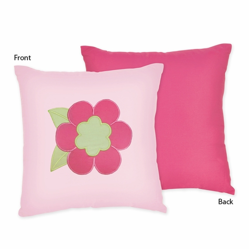 Pink and Green Flower Decorative Accent Throw Pillow by Sweet Jojo Designs - Click to enlarge