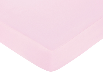 Pink and Green Flower Fitted Crib Sheet for Baby and Toddler Bedding Sets by Sweet Jojo Designs - Solid Light Pink - Click to enlarge