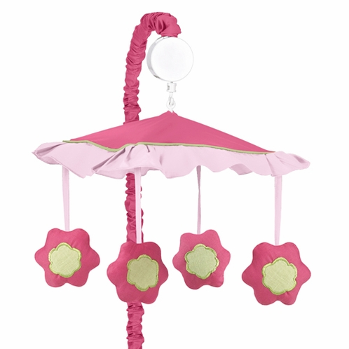 Pink and Green Flower Musical Crib Mobile - Click to enlarge