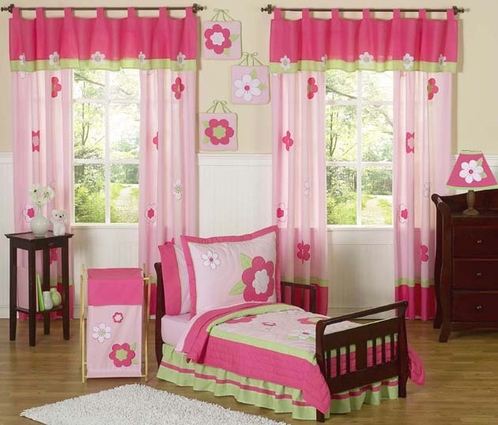 Pink and Green Flower Toddler Bedding - 5pc Set - Click to enlarge
