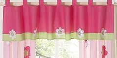 Pink and Green Flower Window Valance