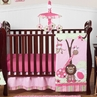 Pink and Green Girls Jungle Baby Bedding - 11pc Crib Set