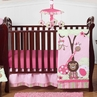 Pink and Green Girls Jungle Baby Bedding - 4pc Crib Set