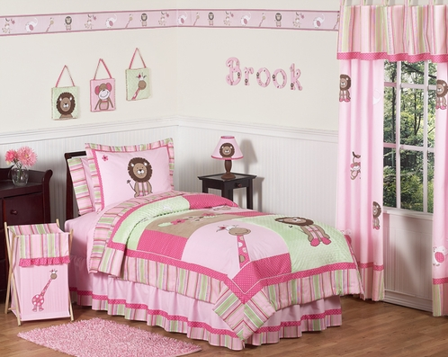 Pink And Green S Jungle Kids Bedding 4pc Twin Set Click To Enlarge