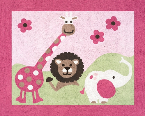 Pink and Green Jungle Friends Accent Floor Rug - Click to enlarge