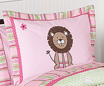Pink and Green Jungle Friends Girls Pillow Sham
