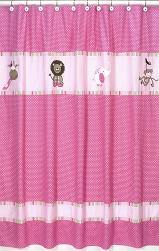Pink and Green Jungle Friends Kids Bathroom Fabric Bath Shower Curtain - Click to enlarge