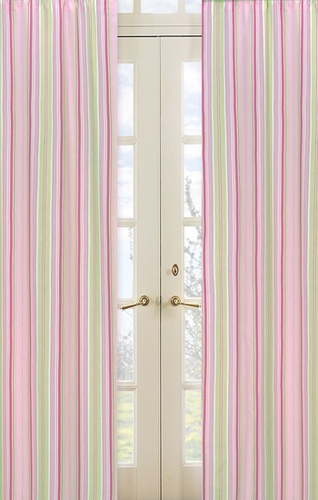 Pink and Green Jungle Friends Stripe Window Treatment Panels - Set of 2 - Click to enlarge