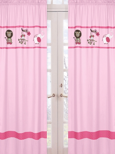 Pink and Green Jungle Friends Window Treatment Panels - Set of 2 - Click to enlarge