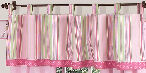 Pink and Green Jungle Friends Window Valance by Sweet Jojo Designs - Click to enlarge