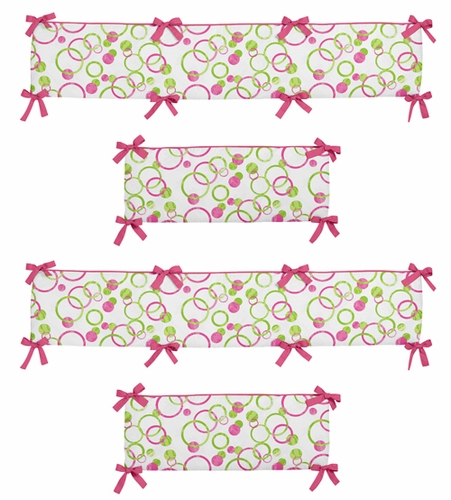 Pink and Green Mod Circles Collection Crib Bumper by Sweet Jojo Designs - Click to enlarge