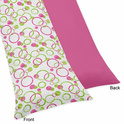Pink and Green Modern Circles Full Length Double Zippered Body Pillow Case Cover - Click to enlarge