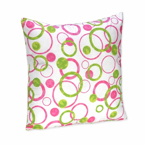 Pink and Green Modern Circles Polka Dot Accent Decorative Pillow - Click to enlarge