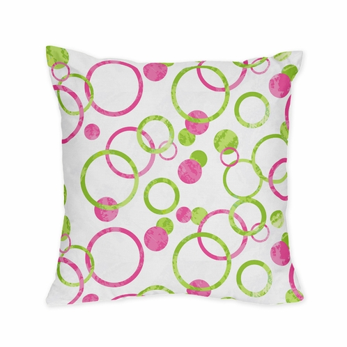 Pink and Green Modern Circles Polka Dot Decorative Accent Throw Pillow - Click to enlarge