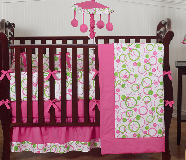pink and green circles modern baby bedding 9 pc crib set only 70 99