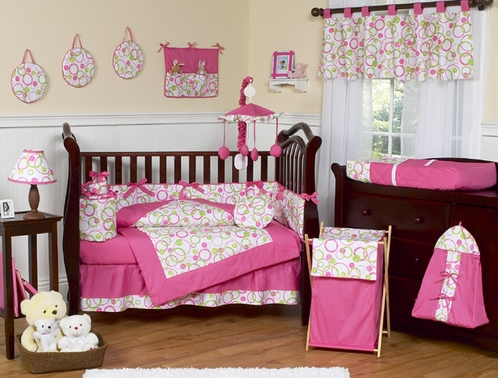 Pink and green circles modern baby bedding 9 pc crib set only - Modern baby bedding sets ...