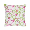 Pink and Green Modern Circles Polka Dot Decorative Accent Throw Pillow