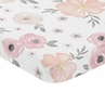 Pink and Grey Baby or Toddler Fitted Mini Portable Crib Sheet Watercolor Floral Collection by Sweet Jojo Designs