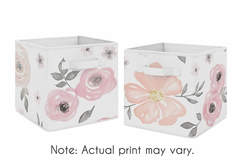 Elegant Pink And Grey Watercolor Floral Foldable Fabric Storage Cube Bins Boxes  Organizer Toys Kids Baby Childrens
