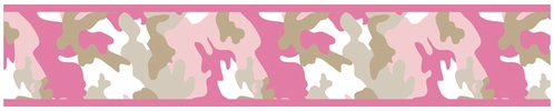 Pink and Khaki Camo Army Camouflage Baby, Kids and Teens Wall Paper Border by Sweet Jojo Designs - Click to enlarge