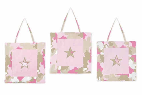 Pink and Khaki Camo Army Camouflage Wall Hanging Accessories by Sweet Jojo Designs - Click to enlarge