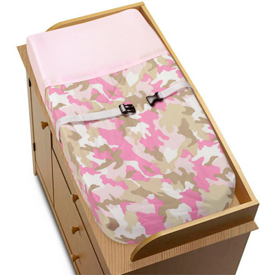 Pink and Khaki Camo Army Military Camouflage Changing Pad Cover by Sweet Jojo Designs - Click to enlarge