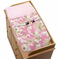 Pink and Khaki Camo Army Military Camouflage Changing Pad Cover by Sweet Jojo Designs