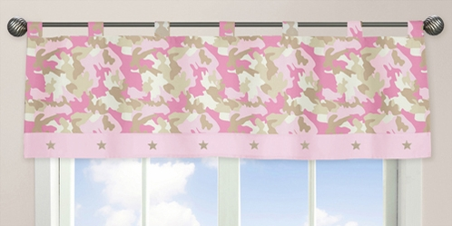 Pink and Khaki Camo Army Military Camouflage Window Valance by Sweet Jojo Designs - Click to enlarge