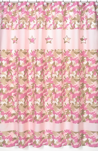 Pink and Khaki Camo Camouflage Kids Bathroom Fabric Bath Shower Curtain - Click to enlarge