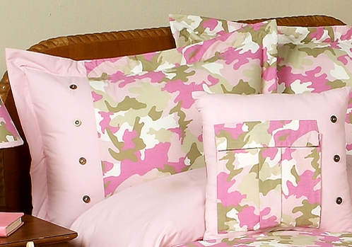Pink and Khaki Camo Camouflage Pillow Sham - Click to enlarge
