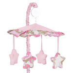 Pink and Khaki Camo Military Army Camouflage Musical Crib Mobile by Sweet Jojo Designs