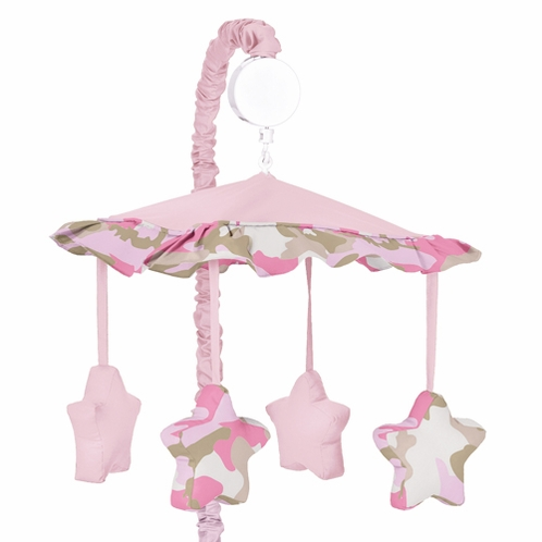 Pink and Khaki Camo Military Army Camouflage Musical Crib Mobile by Sweet Jojo Designs - Click to enlarge