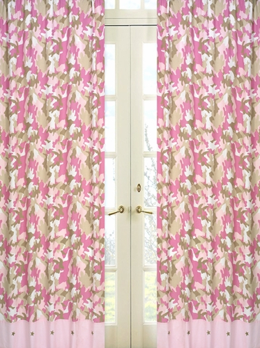 Pink and Khaki Camo Window Treatment Panels - Set of 2 - Click to enlarge