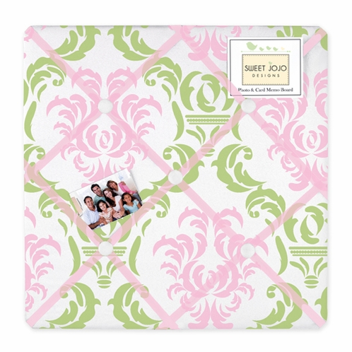 Pink and Lime Juliet Fabric Memory/Memo Photo Bulletin Board - Click to enlarge