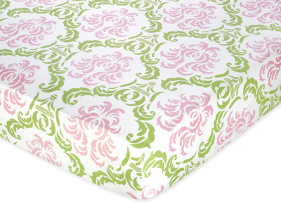 Pink and Lime Juliet Fitted Crib Sheet for Baby/Toddler Bedding Sets - Damask Print - Click to enlarge