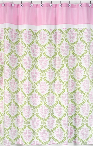 Pink And Lime Juliet Kids Bathroom Fabric Bath Shower Curtain Only