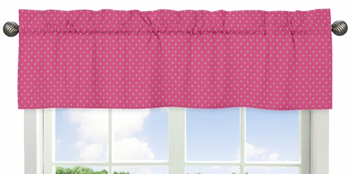Pink and Lime Polka Dot Print Window Valance for Pink and Green Jungle Friends Collection - Click to enlarge