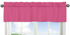 Pink and Lime Polka Dot Print Window Valance for Pink and Green Jungle Friends Collection